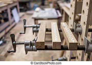 de madera, detail., timbers, conectar, utilizar,...