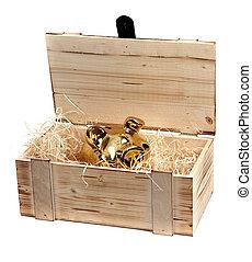 de madera, dorado, piggybank, caso