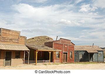 de madera, edificios, en, un, viejo, norteamericano, pueblo...