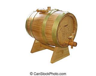 de madera, encima, aislado, barril, vino blanco