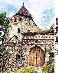 de madera, entrada, puerta, de, tocnik, medieval, castillo, en, central, bohemia, república checa