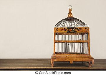 de madera, estante, enjaule pájaro
