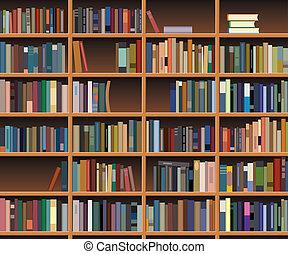 de madera, estante libros, vector