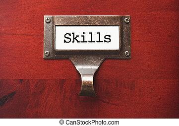 de madera, etiqueta, habilidades, lustroso, archivador