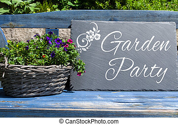de madera, fiesta, cartón, jardín, pizarra
