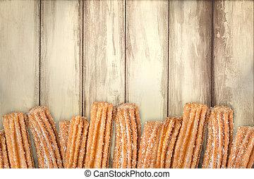 de madera, fila, arreglado, plano de fondo, churros