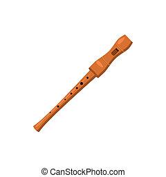 de madera, flauta, icono, caricatura, estilo