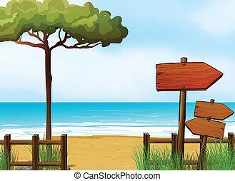 de madera, flecha, signboards, en la playa