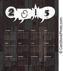 de madera, fondo., calendario, vector, 2015