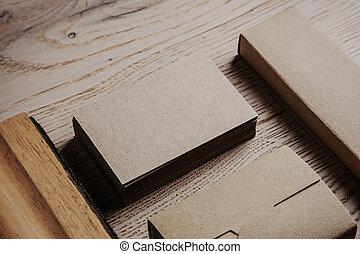 de madera, fondo., elementos, oficina, blanco