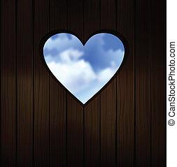 de madera, forma corazón, corte, puerta