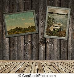 de madera, fotos, interior, viejo, marcos
