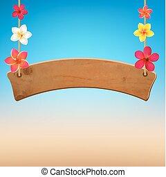 de madera, frangipani, señal