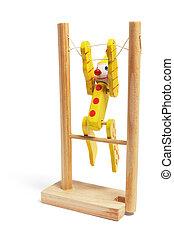de madera, gimnasta, juguete
