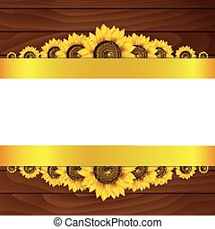 de madera, girasoles, fondo amarillo