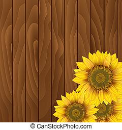 de madera, girasoles, plano de fondo