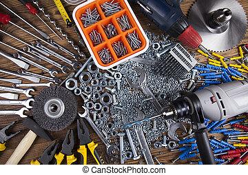 de madera, herramientas, trabajando, Plano de fondo