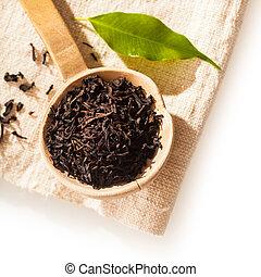 de madera, hojas de té, flojo, cuchara, secado