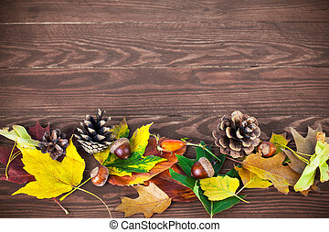 de madera, hojas, otoñal, tabla, bellota, piña