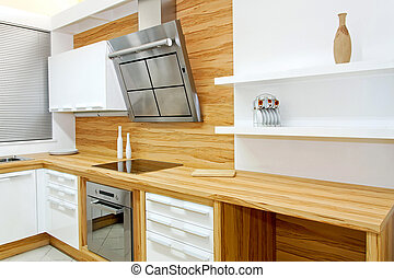 de madera, horizontal, cocina
