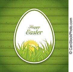 de madera, huevo, Pegatina, papel, verde, Plano de fondo,...