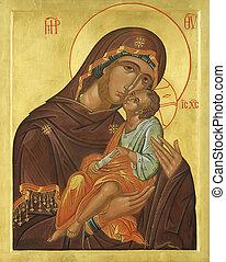 de madera, icono, de, el virgen mary, jesucristo