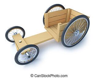 de madera, ir, corredor, carrito, 3d