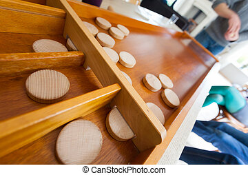 de madera, juego, sjoelen, familia , holandés