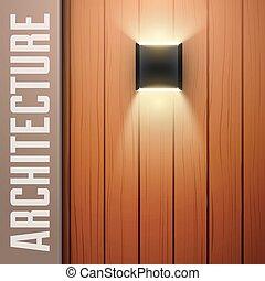 de madera, lámpara, cubierta, vendimia, pared