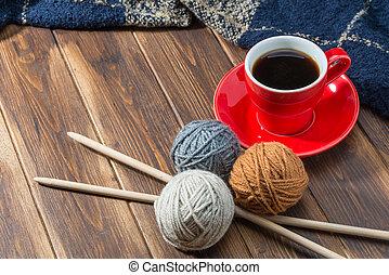 de madera, lana, café, pelota, piso