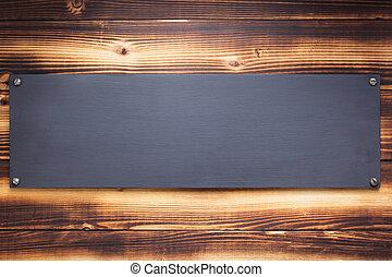de madera, letrero nombre, señal, pared, o, plano de fondo
