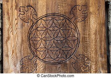 de madera, life., flor