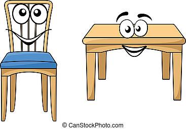 de madera, lindo, caricatura, muebles