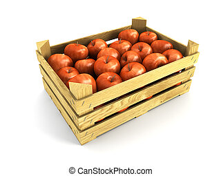 de madera, lleno, cajón, manzanas