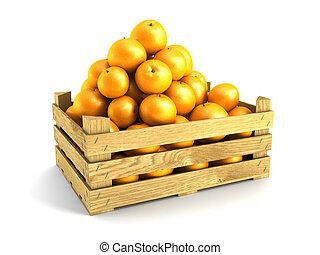 de madera, lleno, cajón, naranjas