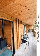 de madera, logia, terraza, montaña