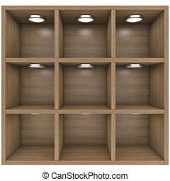 de madera, luces, built-in, estantes