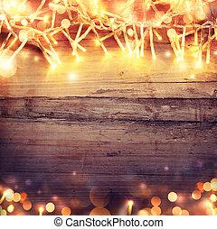 de madera, luz, Plano de fondo, guirnalda, navidad