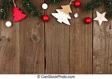 de madera, madera, ramas, árbol, navidad, cima, decoraciones, frontera