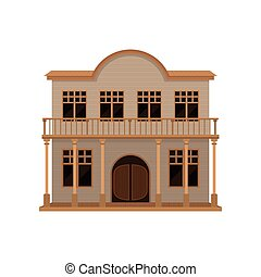 de madera, madera, vector, balanceo, casa, viejo, balcony., bar, occidental, puertas, oeste, plano, porch., icono, two-storey, salvaje