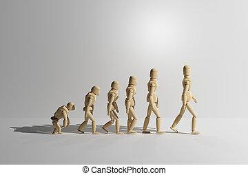 de madera, maniquí, prototipo, de, humano, evolución