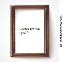 de madera, marco de la foto, rectangular, sombra, 3d