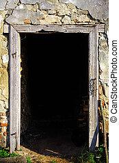 de madera, marco, puerta
