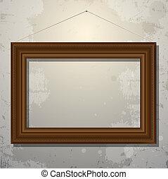 de madera, marco vacío, de, imagen, en, viejo, pared