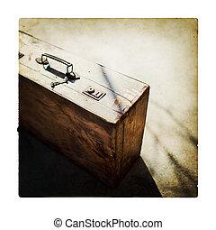 de madera, marrón, retro, maleta