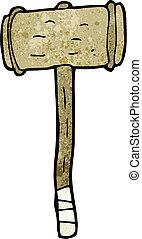 de madera, martillo, caricatura