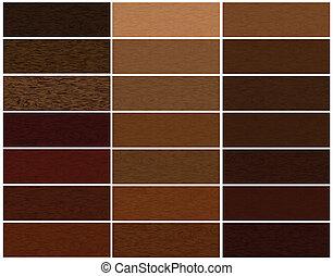 de madera, materiales, vector, conjunto