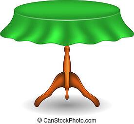 de madera, mesa redonda, con, mantel