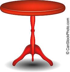 de madera, mesa redonda, en, rojo, diseño