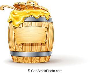 de madera, miel, barril, lleno